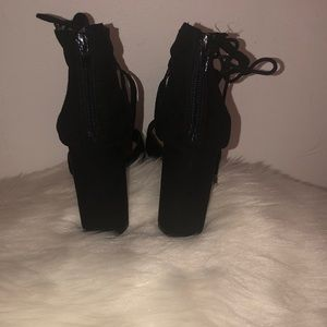Express Shoes - Black Laced High Heels